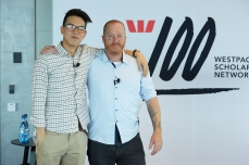 Jeremy Forbes with Co-MC Chei Wei at the Westpac Scholars' Summit