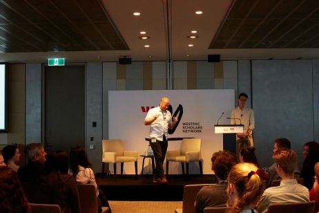 Jeremy Forbes MCing at the Westpac Scholars' Summit